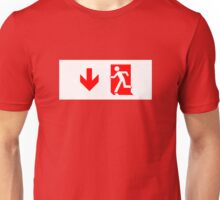 Running Man Emergency Exit Sign, Left Hand Down Arrow Unisex T-Shirt