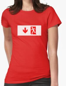 Running Man Emergency Exit Sign, Left Hand Down Arrow Womens Fitted T-Shirt
