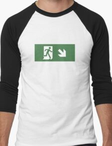 Running Man Emergency Exit Sign, Right Hand Diagonally Down Arrow Men's Baseball ¾ T-Shirt