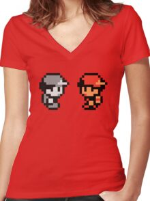 Red & AJDNNW Women's Fitted V-Neck T-Shirt