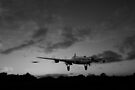 Lancasters taking off at sunset black and white version by Gary Eason