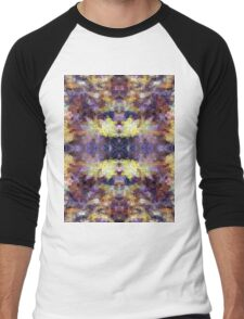Abstract Mosaic in Yellow Blue Purple Men's Baseball ¾ T-Shirt