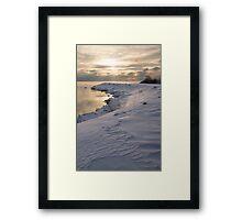 Icy, Snowy Lake Shore Morning Framed Print