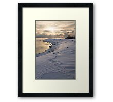 Icy, Snowy Lake Shore Morning Framed Print