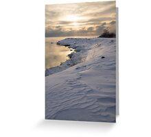 Icy, Snowy Lake Shore Morning Greeting Card