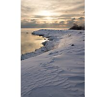 Icy, Snowy Lake Shore Morning Photographic Print