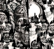 Broken up, Melting skull pattern by KristyPatterson