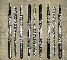 Paris France Antique Pens by Edward Fielding