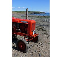Red tractor on Aberdaron beach Photographic Print