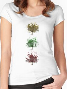 Painted trees Women's Fitted Scoop T-Shirt