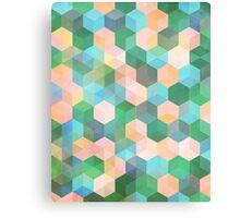 Child's Play - hexagon pattern in mint green, pink, peach & aqua Canvas Print