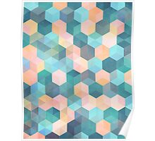 Child's Play 2 - hexagon pattern in soft blue, pink, peach & aqua Poster