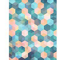 Child's Play 2 - hexagon pattern in soft blue, pink, peach & aqua Photographic Print