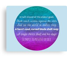 Percy Jackson Prophecy - Blue Background Canvas Print