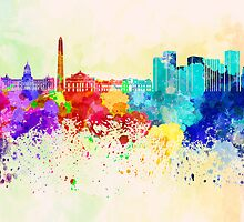 Buenos Aires skyline in watercolor background by paulrommer