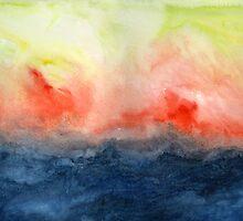 Brush Fire - Abstract Watercolor Landscape by Jacqueline Maldonado