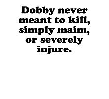 Dobby Never Meant To Kill Photographic Print