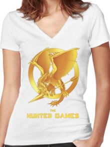 the Hunter Games Women's Fitted V-Neck T-Shirt