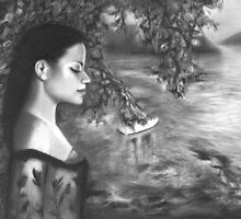Graphite Drawing - Listening to Nightfall, Elizabeth Bay | Australian Art by Lee Wilde