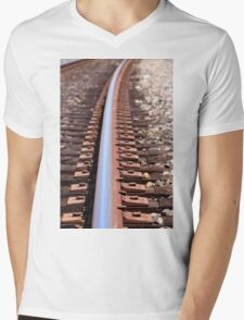train track Mens V-Neck T-Shirt