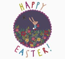 CUTE HAPPY BUNNY EASTER T SHIRT by Jane Newland