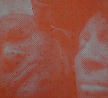 Red Screen-print (Expanding foam faces) by Kathryn Anne Trussler