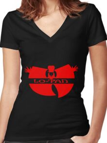 Lo Pan Clan (red) Women's Fitted V-Neck T-Shirt