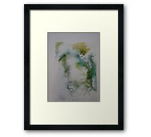 Water colour screen-print of Expanding foam face. Framed Print