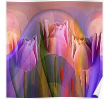 Tulips Festival, abstract floral art Poster