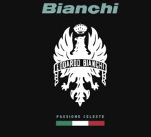 BIANCHI Passione Celeste Bicycle Bike logo black t-shirt by poannew