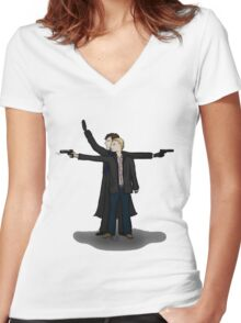 Knight and Day, Sherlock Style Women's Fitted V-Neck T-Shirt