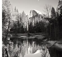 Half Dome with moon and reflection by lifeinfineart