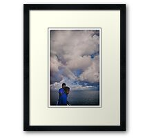 Fishermen, rainbow, airplane Framed Print