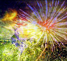 Bunny enjoying distant fireworks by ♥⊱ B. Randi Bailey