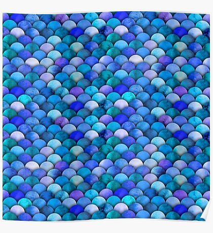Blue watercolor scales Poster