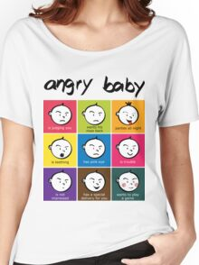 Angry Baby colour blocks Women's Relaxed Fit T-Shirt