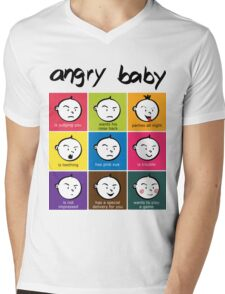 Angry Baby colour blocks Mens V-Neck T-Shirt