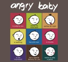 Angry Baby colour blocks white text by Daliha  Yousuf