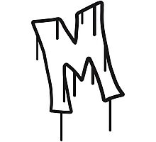 Letter M graffiti stamp Photographic Print
