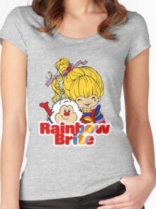 Rainbow Brite - Group - Rainbow & Twink - Large - Color Women's Fitted Scoop T-Shirt