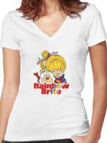 Rainbow Brite - Group - Rainbow & Twink - Small - Color Women's Fitted V-Neck T-Shirt
