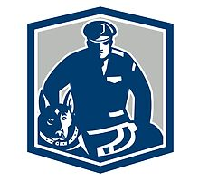 Canine Policeman With Police Dog Retro by patrimonio