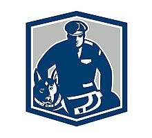 Canine Policeman With Police Dog Retro Photographic Print