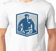 Canine Policeman With Police Dog Retro Unisex T-Shirt