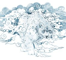 clouded snow leopard illustration by SFDesignstudio