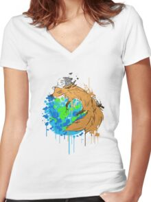 asleep on earth Women's Fitted V-Neck T-Shirt