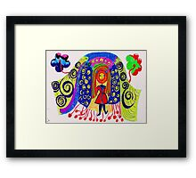HAPPY GIRL COMES TO TOWN Framed Print