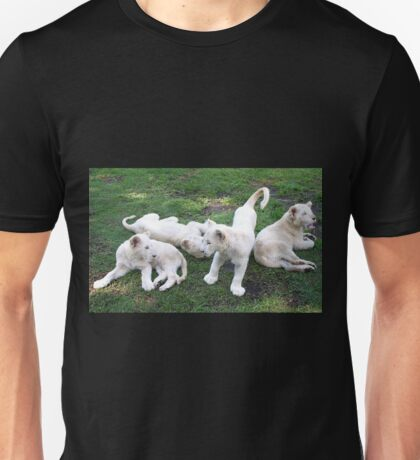 White Lion Cubs Playing Unisex T-Shirt