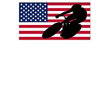 Cycling American Flag Photographic Print
