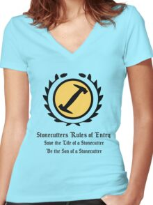 The Simpsons - Stonecutters - Rules of Entry Women's Fitted V-Neck T-Shirt